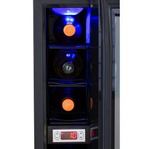 SIA BWC150BL 15cm Black Free Standing Under Counter LED 6 Bottle Wine Cooler