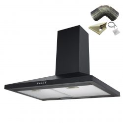 SIA CH71BL 70cm Black Chimney Cooker Hood Kitchen Extractor Fan And 3m Ducting