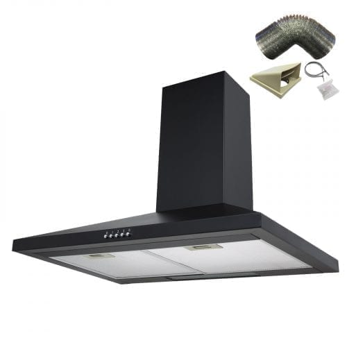 SIA CH71BL 70cm Black Chimney Cooker Hood Extractor Fan + 3m Ducting