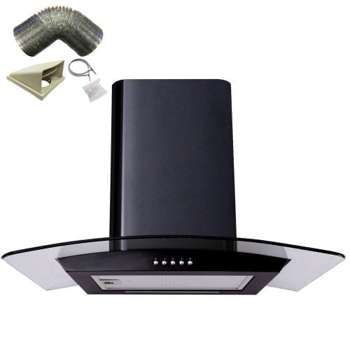 SIA CP61BL 60cm Designer Curved Glass Black Cooker Hood Extractor + 3m Ducting