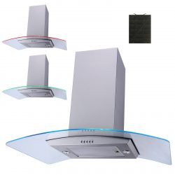 SIA 90cm Stainless Steel 3 LED Curved Glass Island Cooker Hood And Carbon Filter