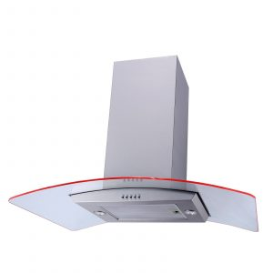 SIA 90cm Stainless Steel LED Curved Glass Island Cooker Hood And 1m Ducting Kit