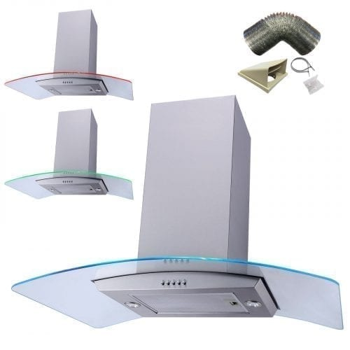 SIA 90cm Multi Colour LED Curved Glass St/ Steel Island Cooker Hood + 3m Ducting