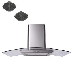 SIA CP101SS 100cm Stainless Steel Curved Glass Cooker Hood Fan And Filters