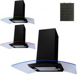 SIA 90cm Black 3 Colour LED Curved Glass Island Cooker Hood And Carbon Filter