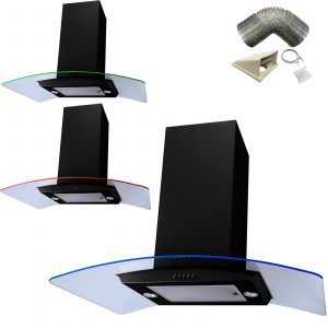 SIA 90cm Black 3 Colour LED Curved Glass Island Cooker Hood And 1m Ducting Kit