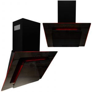 SIA 60cm Black Angled 3 Colour Edge Lit Cooker Hood Extractor Fan And 3m Ducting