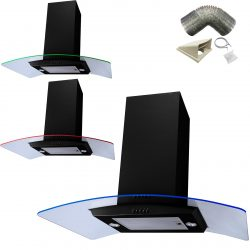 SIA 90cm Black 3 Colour LED Curved Glass Island Cooker Hood And 3m Ducting Kit