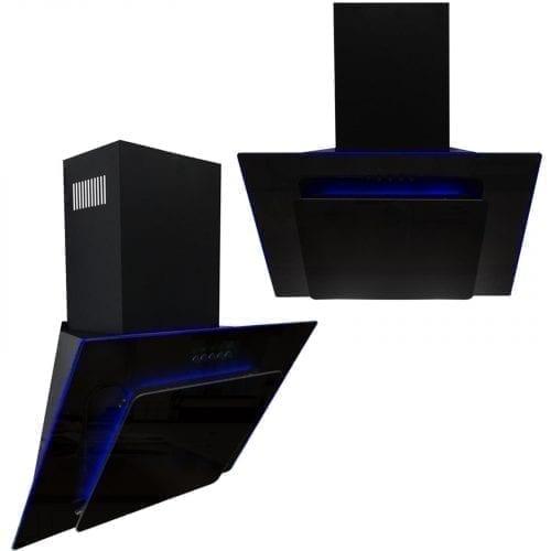 SIA 60cm 3 Colour LED Edge Lit Black Angled Glass Cooker Hood + Charcoal Filter