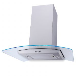 SIA 70cm Stainless Steel LED Curved Glass Island Cooker Hood And 3m Ducting Kit