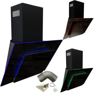 SIA 70cm Black 3 Colour LED Edge Lit Angled Glass Cooker Hood And 1m Ducting Kit