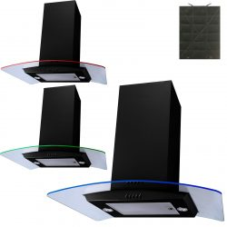SIA Black 70cm Multi Colour LED Curved Glass Island Cooker Hood & Carbon Filter