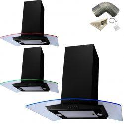 SIA Black 70cm Multi Colour LED Curved Glass Island Cooker Hood & 1m Ducting Kit