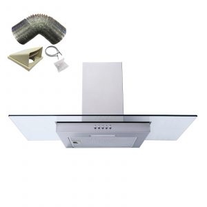 SIA FG91SS 90cm Flat Glass St/Steel Chimney Cooker Hood Extractor and 1m Ducting