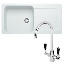 Franke Aveta 1.0 Bowl Ice White Tectonite Kitchen Sink And Reginox Brooklyn Tap