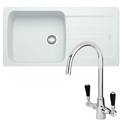 Franke Aveta 1.0 Bowl Ice White Tectonite Kitchen Sink & Reginox Brooklyn Tap