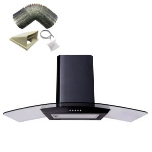SIA CP111BL Black 110cm Curved Glass Cooker Hood Extractor Fan & 3m Ducting