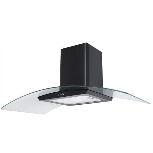 SIA CP111BL 110cm Curved Glass Black Cooker Hood Extractor Fan + 3m Ducting
