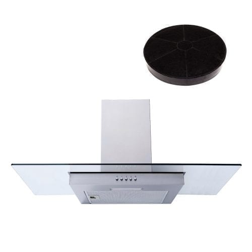 SIA FL91SS Steel 90cm Flat Glass Chimney Cooker Hood Extractor and Carbon Filter