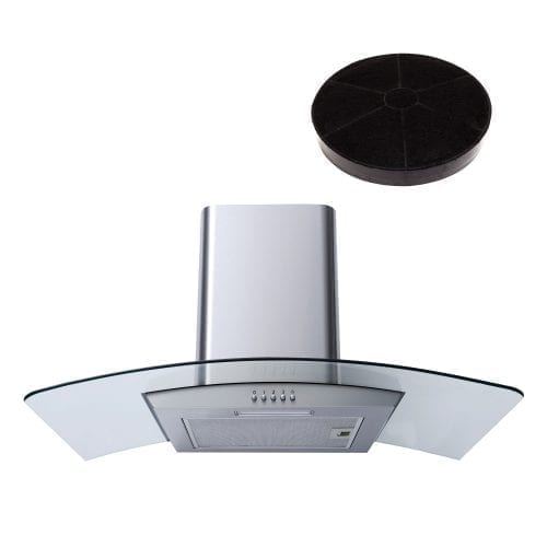 SIA CG81SS 80cm Stainless Steel Curved Glass Cooker Hood Extractor & Filter