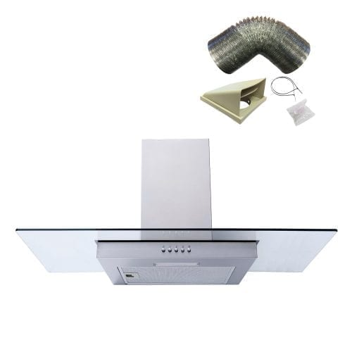 SIA FL91SS Steel 90cm Flat Glass Chimney Cooker Hood Extractor and 1m Ducting