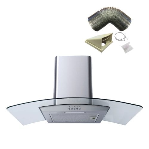 SIA CG81SS 80cm Stainless Steel Curved Glass Cooker Hood Extractor & 1m Ducting