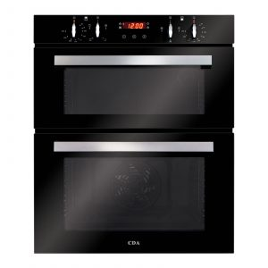 CDA DC740BL 60cm Black Built Under Double Electric Fan Oven With Digital Timer