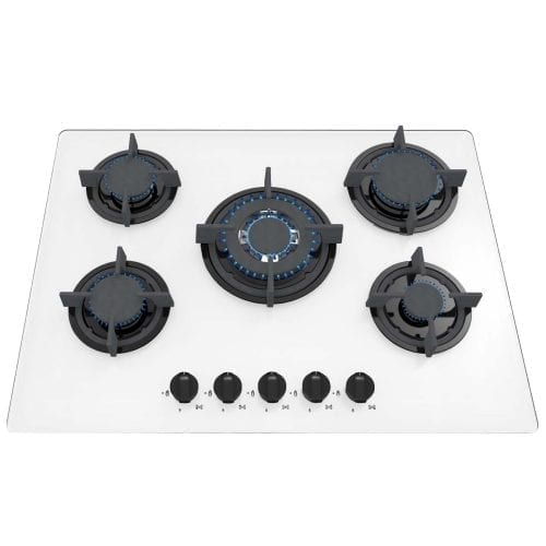 SIA GHG703WH 70cm 5 Burner Gas On Glass Hob In White With Cast Iron Pan Stands