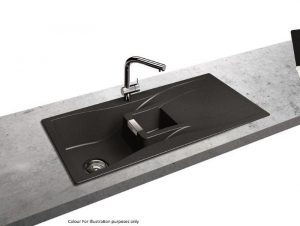 Schock Waterfall 1.5 Bowl Reversible Granite Kitchen Sink in Carbonium Black