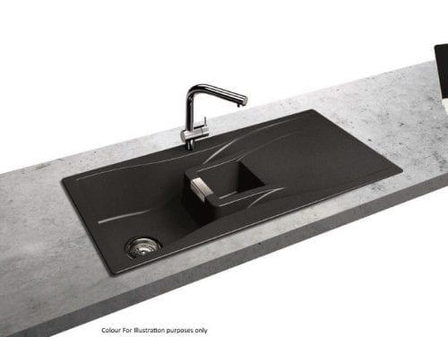 Schock Waterfall 1.5 Bowl Reversible Granite Kitchen Sink in Carbonium Black