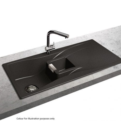 Schock Waterfall 1.5 Bowl Reversible Granite Kitchen Sink in Magma Black
