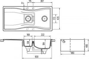 Schock Waterfall 1.5 Bowl Reversible Granite Kitchen Sink in Polaris White