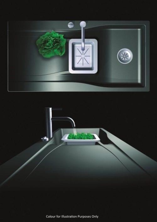 Schock Waterfall 1.5 Bowl Reversible Granite Kitchen Sink in Puro Black