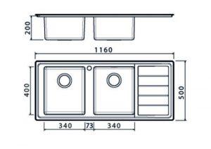 Clearwater LIP200R Linear Plus Elegant 2.0 Bowl Stainless Steel Kitchen Sink