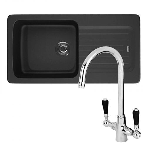 Franke Aveta 1.0 Bowl Black Tectonite Kitchen Sink & Reginox Brooklyn Mixer Tap
