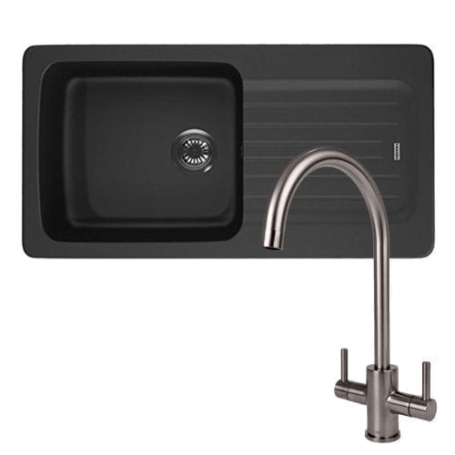 Franke Aveta 1.0 Black Tectonite Kitchen Sink And Reginox Genesis Swan Neck Tap