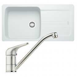 Franke Aveta 1.0 Bowl White Tectonite Kitchen Sink & Clearwater Creta Mixer Tap