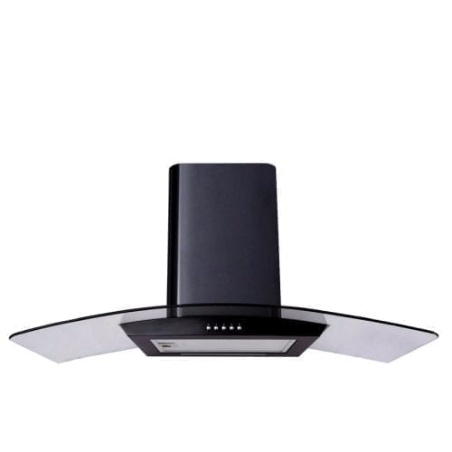SIA CP111BL Black 110cm Curved Glass Chimney Cooker Hood Kitchen Extractor Fan