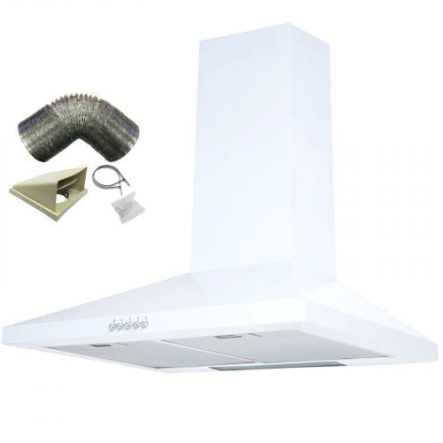 SIA CH71WH 70cm White Chimney Cooker Hood Kitchen Extractor Fan + 3m Ducting Kit