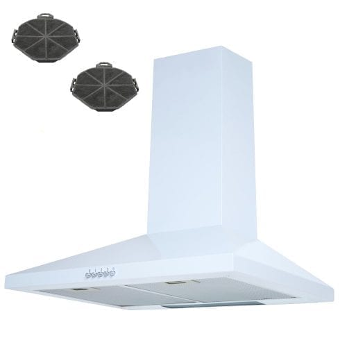 SIA CH71WH 70cm Chimney Cooker Hood Kitchen Extractor Fan in White + Filters