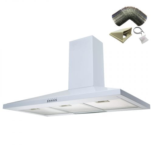 SIA CH101WH 100cm White Chimney Cooker Hood Kitchen Extractor Fan + 3m Ducting