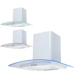 SIA CPE71WH 70cm White 3 Colour LED Edge Curved Glass Cooker Hood Extractor Fan