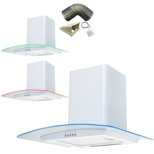SIA CPE71WH 70cm 3 Colour LED White Cooker Hood Extractor Fan + 1m Ducting Kit