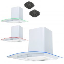 SIA CPE71WH 70cm White 3 Colour LED Cooker Hood Extractor Fan And Carbon Filters