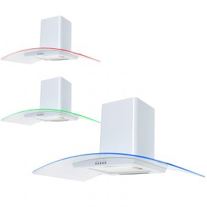 SIA CPE91WH 90cm White 3 Colour LED Edge Curved Glass Cooker Hood Extractor Fan