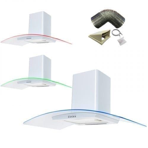 SIA CPE91WH 90cm 3 Colour LED White Cooker Hood Extractor Fan + 3m Ducting Kit