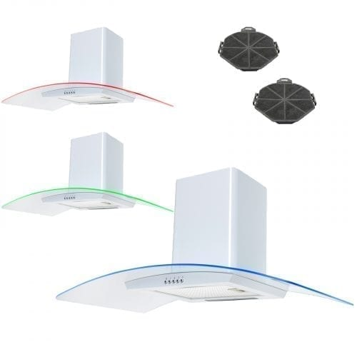 SIA CPE91WH 90cm 3 Colour LED White Cooker Hood Extractor Fan + Carbon Filters
