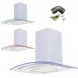 SIA 60cm White LED Edge Lit Curved Glass Cooker Hood Extractor & 3m Ducting Kit