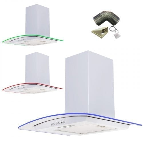 SIA 60cm 3 Colour LED Edge Lit Curved Glass White Cooker Hood + 3m Ducting Kit