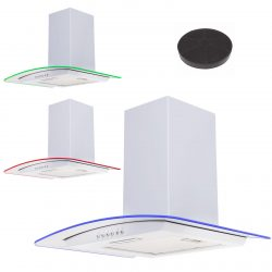 SIA 60cm White LED Edge Lit Curved Glass Cooker Hood Extractor And Carbon Filter